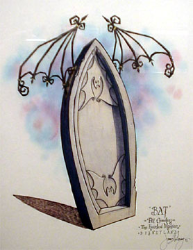 Bat headstone art...
